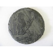 GRIM REAPER 2 ROUND NATURAL SLATE COASTER FOR ANY OCCASION