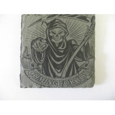 GRIM REAPER 5 SQUARE SLATE COASTER FOR ANY OCCASION