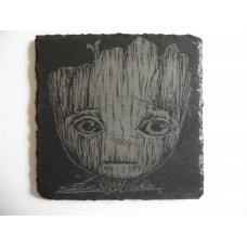 BABY GROOT LASER ENGRAVED  ON A SLATE COASTER