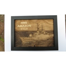 HMS AMAZON F169 LASER ENGRAVED PHOTOGRAPH