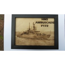 HMS AMBUSCADE F172 LASER ENGRAVED PHOTOGRAPH