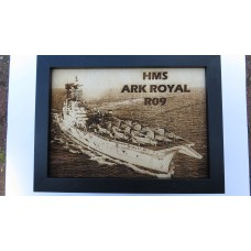 HMS ARK ROYAL R09 LASER ENGRAVED PHOTOGRAPH