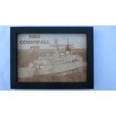 HMS CORNWALL F99 LASER ENGRAVED PHOTOGRAPH