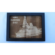 HMS DARING D32 LASER ENGRAVED PHOTOGRAPH