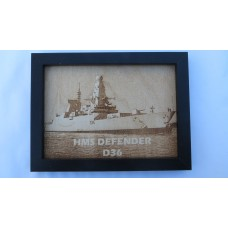 HMS DEFENDER D36 LASER ENGRAVED PHOTOGRAPH