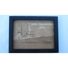 HMS DIAMOND D34 LASER ENGRAVED PHOTOGRAPH
