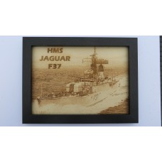 HMS JAGUAR F37 LASER ENGRAVED PHOTOGRAPH