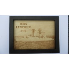 HMS LINCOLN F99 LASER ENGRAVED PHOTOGRAPH