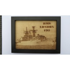 HMS LONDON F95 LASER ENGRAVED PHOTOGRAPH