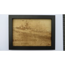 HMS LONDONDERRY F108 LASER ENGRAVED PHOTOGRAPH