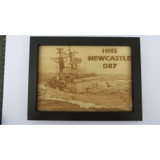 HMS NEWCASTLE D87 LASER ENGRAVED PHOTOGRAPH