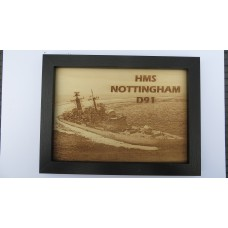 HMS NOTTINGHAM D91 LASER ENGRAVED PHOTOGRAPH