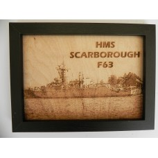 HMS SCARBOROUGH F63 LASER ENGRAVED PHOTOGRAPH