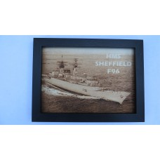 HMS SHEFFIELD F96 LASER ENGRAVED PHOTOGRAPH