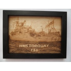 HMS TORQUAY F43 LASER ENGRAVED PHOTOGRAPH