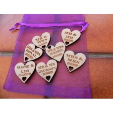 Table Personalised Mr-Mrs /Mrs-Mrs/Mr-Mr Love Hearts BIRCH WOOD