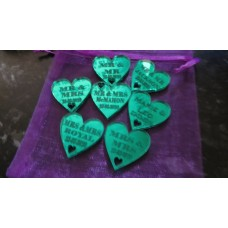 Table Personalised Mr-Mrs /Mrs-Mrs/Mr-Mr Love Hearts MIRROR GREEN Acrylic