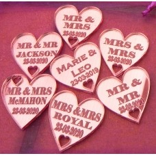 Table Personalised Mr-Mrs /Mrs-Mrs/Mr-Mr Love Hearts MIRROR PINK Acrylic