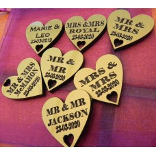 Table Personalised Mr-Mrs /Mrs-Mrs/Mr-Mr Love Hearts SPARKLING GOLD Acrylic