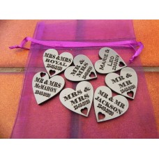 Table Personalised Mr-Mrs /Mrs-Mrs/Mr-Mr Love Hearts SPARKLING SILVER Acrylic