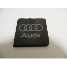 AUDI Car Logo COASTER AUDI Car Lovers Gift Natural Slate