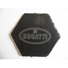 BUGATTI Car Logo COASTER BUGATTI Car Lovers Gift Natural Slate