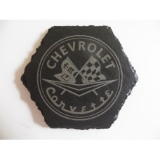 CHEVROLET CORVETTE Car Logo COASTER CHEVROLET CORVETTE Car Lovers Gift Natural Slate