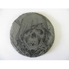 GRIM REAPER 1 ROUND NATURAL SLATE COASTER FOR ANY OCCASION