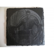 BLACK PANTHER LASER ENGRAVED  ON A SLATE COASTER