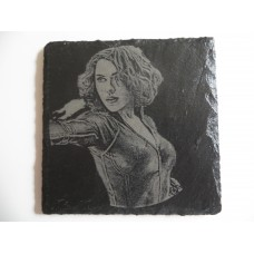 BLACK WIDOW LASER ENGRAVED  ON A SLATE COASTER