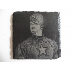 CAPT AMERICA LASER ENGRAVED  ON A SLATE COASTER