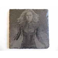 CAPT MARVEL LASER ENGRAVED  ON A SLATE COASTER