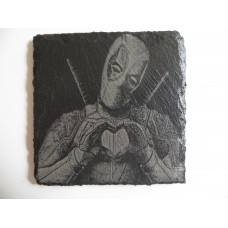 DEADPOOL LASER ENGRAVED  ON A SLATE COASTER