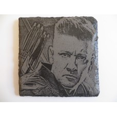 HAWKEYE LASER ENGRAVED  ON A SLATE COASTER