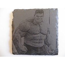 HULK LASER ENGRAVED  ON A SLATE COASTER