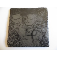 HARLEY AND JOKER SQUARE NATURAL SLATE COASTER FOR ANY OCCASION