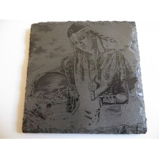 INDIAN SQUAW SQUARE NATURAL SLATE COASTER FOR ANY OCCASION