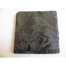 WOLF SQUARE NATURAL SLATE COASTER FOR ANY OCCASION