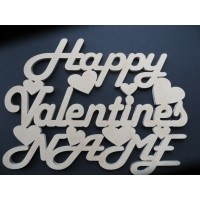 HAPPY VALENTINES (Double Name) - Plaque Sign - MDF wood
