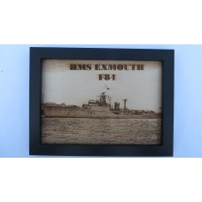 HMS EXMOUTH F84 LASER ENGRAVED PHOTOGRAPH