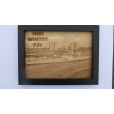 HMS WHITBY F36 LASER ENGRAVED PHOTOGRAPH