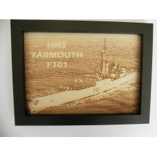 HMS YARMOUTH F101LASER ENGRAVED PHOTOGRAPH