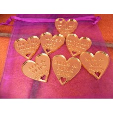Table Personalised Mr-Mrs /Mrs-Mrs/Mr-Mr Love Hearts MIRROR GOLD Acrylic