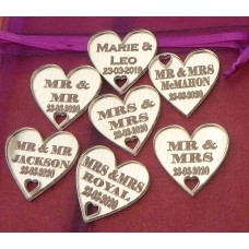 Table Personalised Mr-Mrs /Mrs-Mrs/Mr-Mr Love Hearts MIRROR SILVER Acrylic